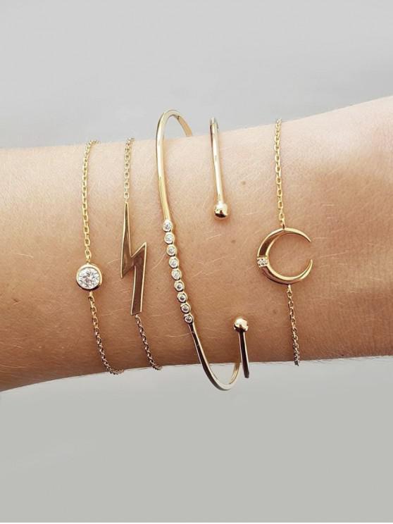 shop 5Pcs Moon Lightning Bracelet Set - GOLD