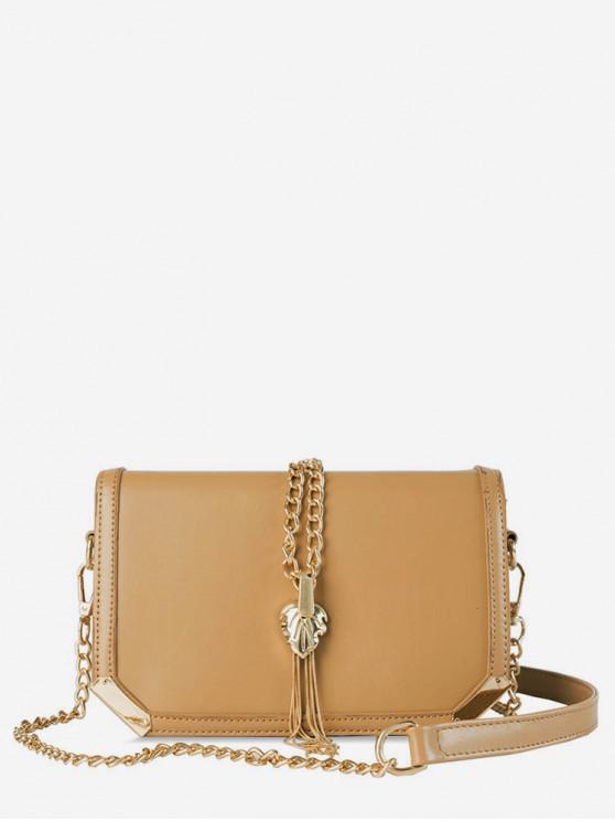 shops Square Tassel Design Chain Shoulder Bag - KHAKI