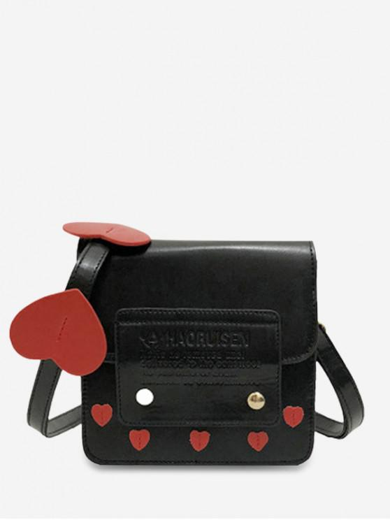 latest Heart Decoration Square Shape Crossbody Bag - BLACK