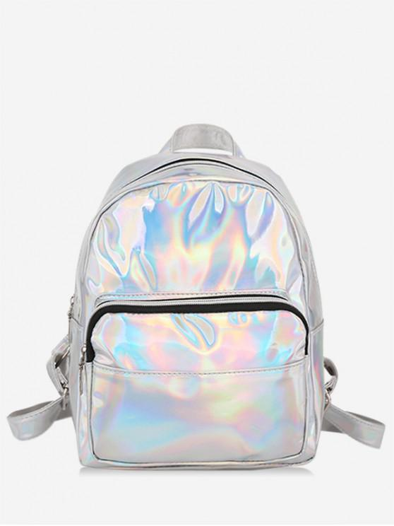 fashion Mini Glossy Chic Style Soft Backpack - SILVER