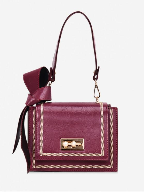 chic Leather Square Bowknot Design Shoulder Bag - RED WINE