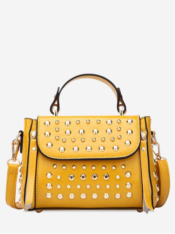 buy Punk Style Rivet Design Shoulder Bag - BEE YELLOW