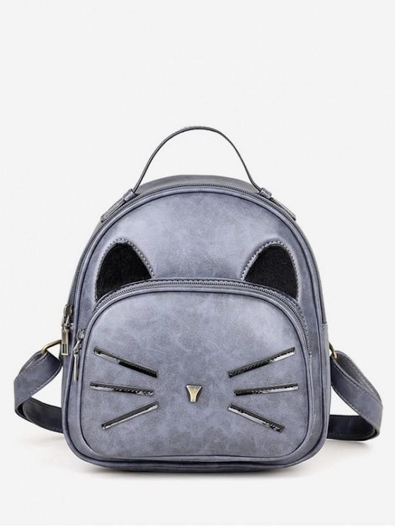 womens Cat Pattern PU Backpack - BLUE GRAY