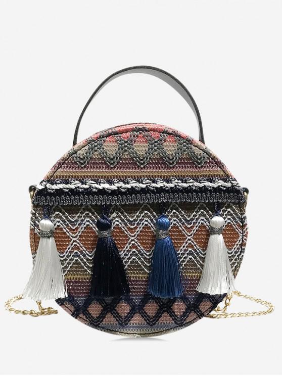 ladies Ethnic Chain Tassel Shoulder Bag - SLATE BLUE