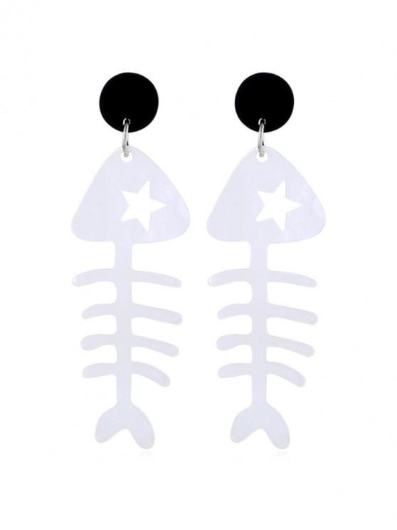 best Fish Bone Shape Dangle Earrings - WHITE