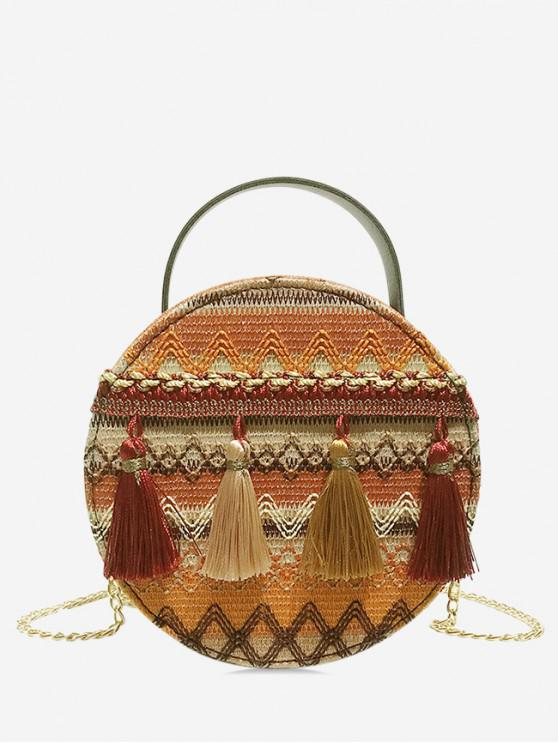 chic Ethnic Chain Tassel Shoulder Bag - SANDY BROWN