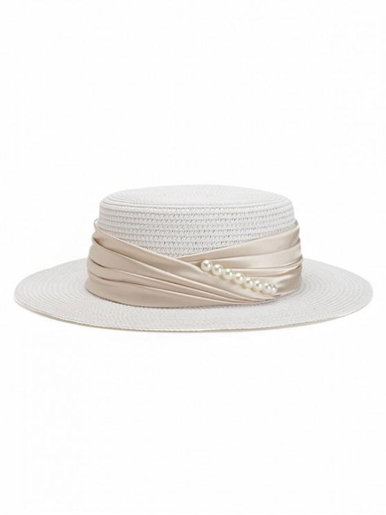 womens Faux Pearl Ribbon Straw Top Hat - WHITE