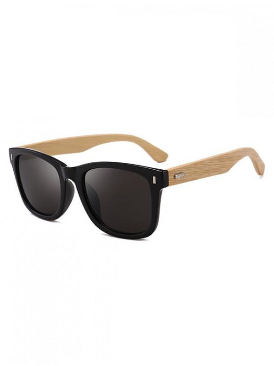 outfit Square Design Wooden Frame Sunglasses - NATURAL BLACK
