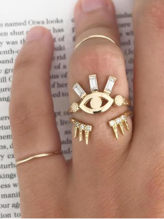 latest 2Pcs Eye Crown Shape Ring Set - GOLD