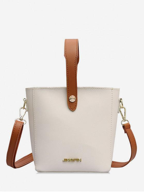 fashion Solid Leather Casual Shoulder Bag - WHITE