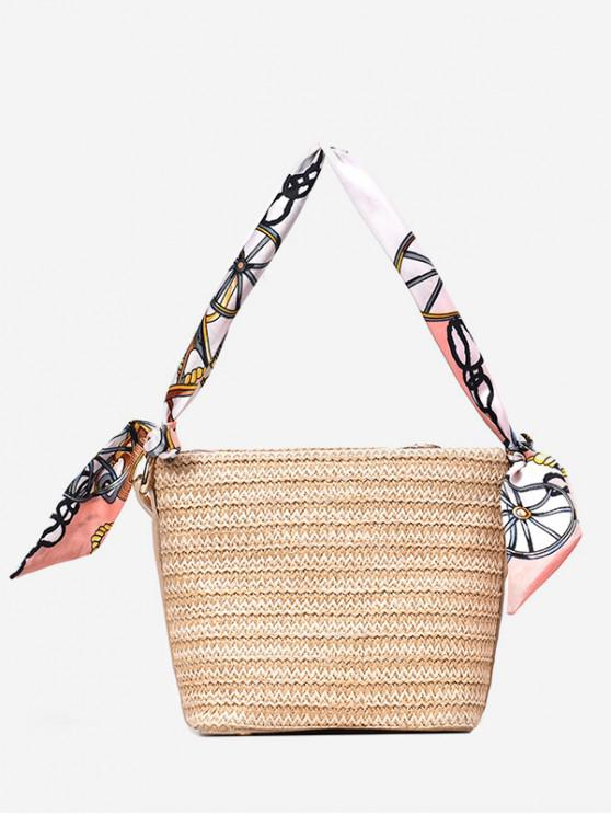 affordable Beach Style Knitted Straw Shoulder Bag - KHAKI