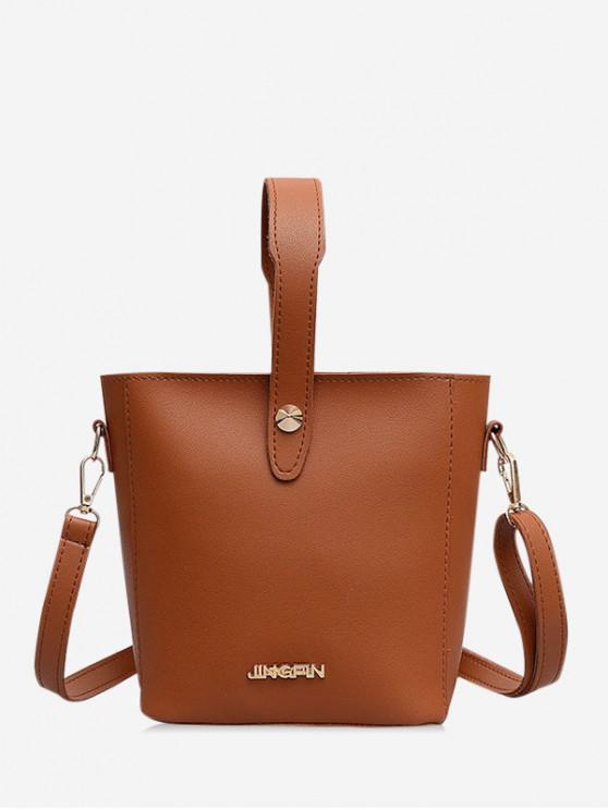 shops Solid Leather Casual Shoulder Bag - LIGHT BROWN