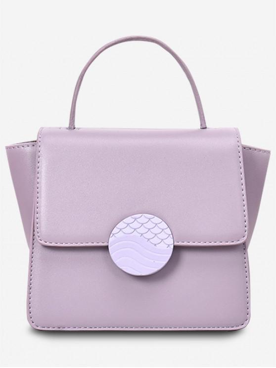 women Solid Color Square Tote Bag - WISTERIA PURPLE