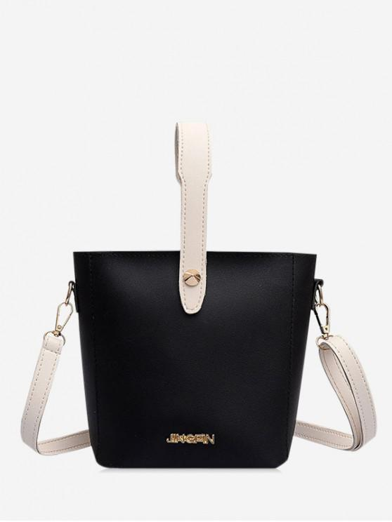 new Solid Leather Casual Shoulder Bag - BLACK