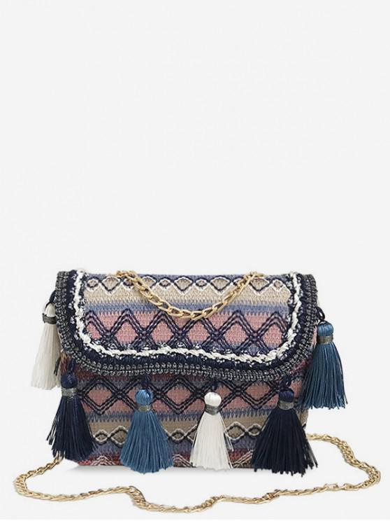 shop Striped Ethnic Tassel Shoulder Bag - SLATE BLUE