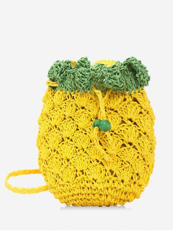 affordable Fruit Shape Crossbody Weaving Shoulder Bag - YELLOW