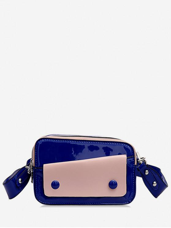 trendy Two Tone Causal Crossbody Bag - BLUE
