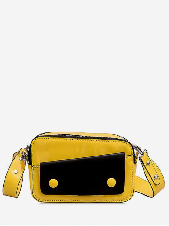 womens Two Tone Causal Crossbody Bag - YELLOW