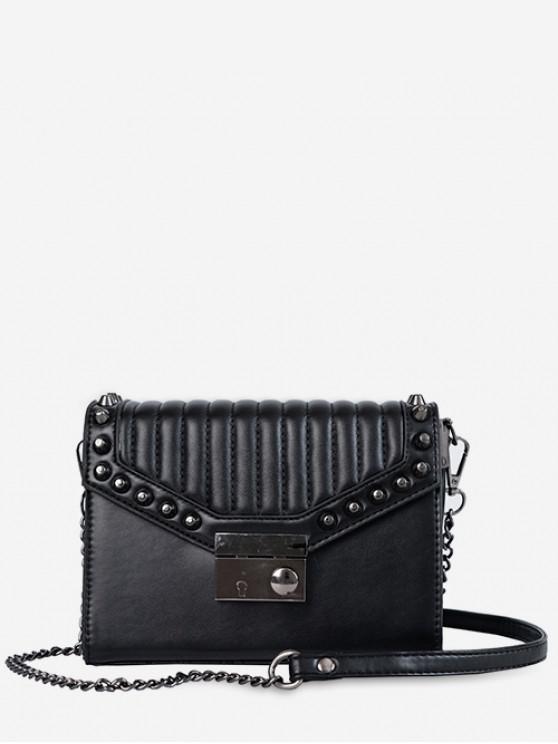 shops Rivet Decoration PU Crossbody Bag - BLACK