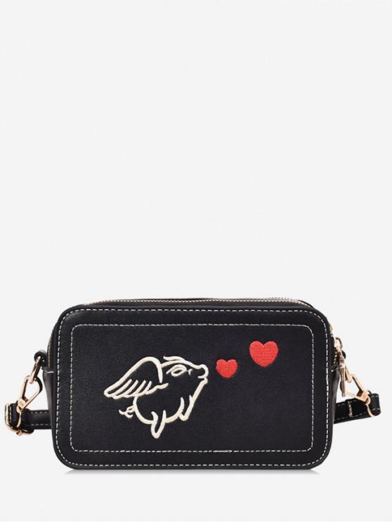 affordable Piggy Embroidered Crossbody Bag - BLACK