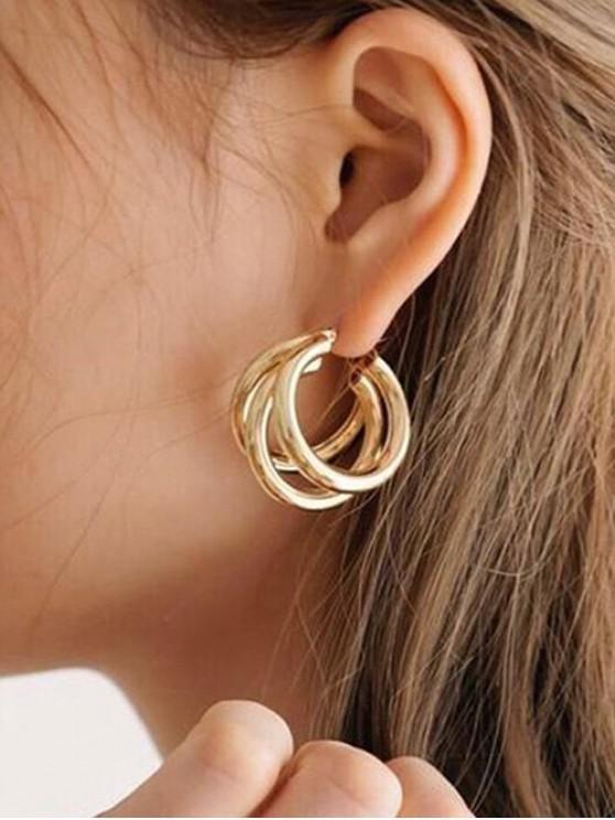 best C Shape Circle Bend Design Earrings - GOLD