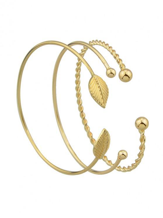 womens 3Pcs Leaf Open Bracelet Set - GOLD