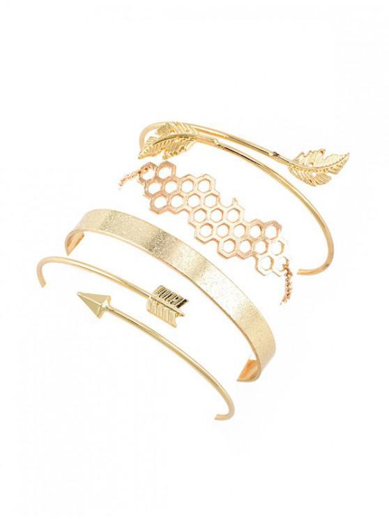 Ensemble de Bracelets Feuille Flèche Design en Alliage - Or