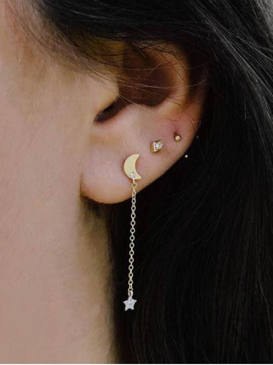 buy 3Pcs Moon Star Stud Earrings Set - GOLD