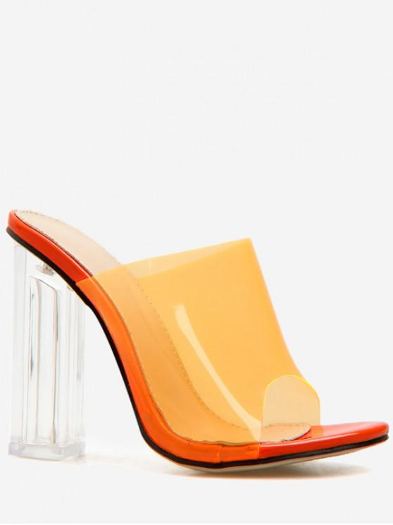 outfits Clear Chunky Heel Transparent Slides - ORANGE EU 38