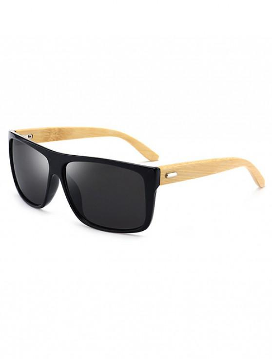 shops Bamboo Rectangle Polarized Sunglasses - BLACK