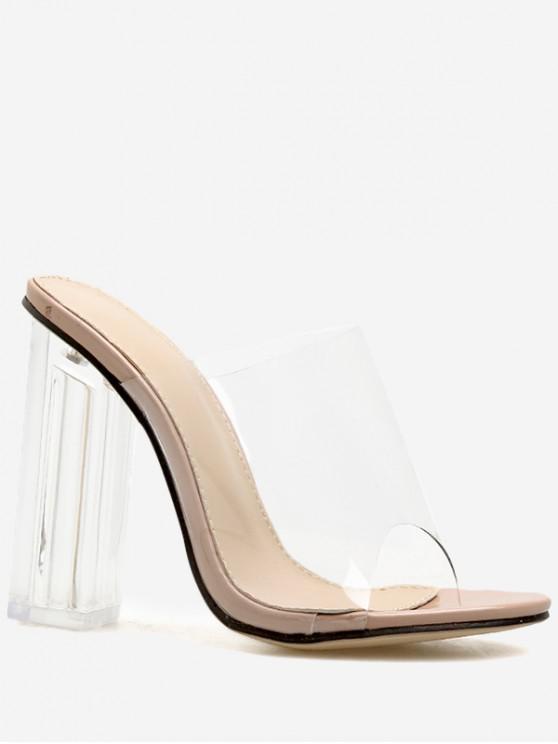 womens Clear Chunky Heel Transparent Slides - APRICOT EU 40