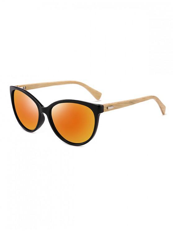 women Bamboo Leg Kitty Eye Sunglasses - RUBY RED