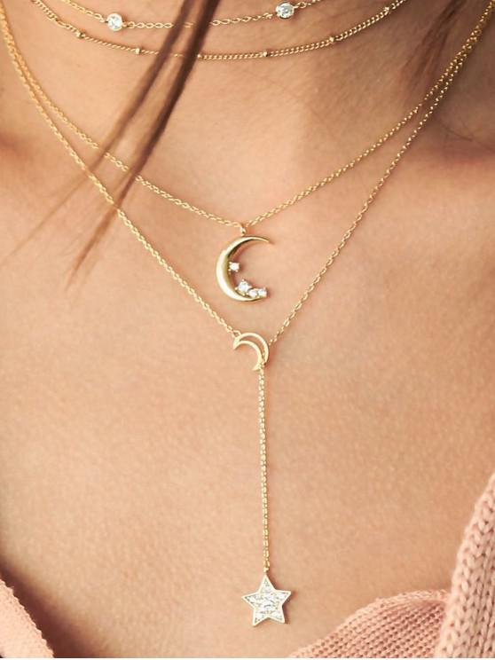 ladies Moon Star Layers Lariat Necklace - GOLD