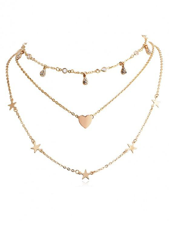 online Heart Star Water Drop Layered Necklace - GOLD
