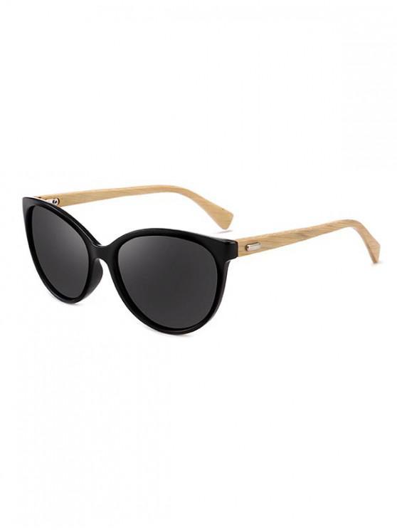 hot Bamboo Leg Kitty Eye Sunglasses - MIRROR BLACK