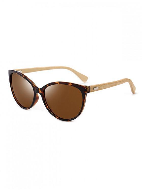 online Bamboo Leg Kitty Eye Sunglasses - COFFEE