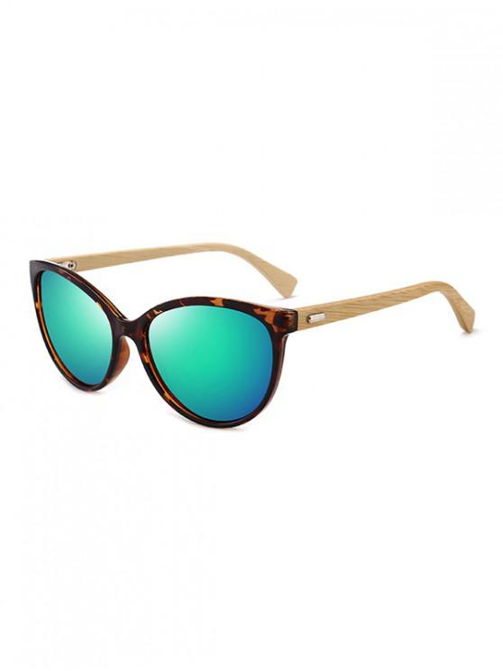 hot Bamboo Leg Kitty Eye Sunglasses - LIGHT AQUAMARINE