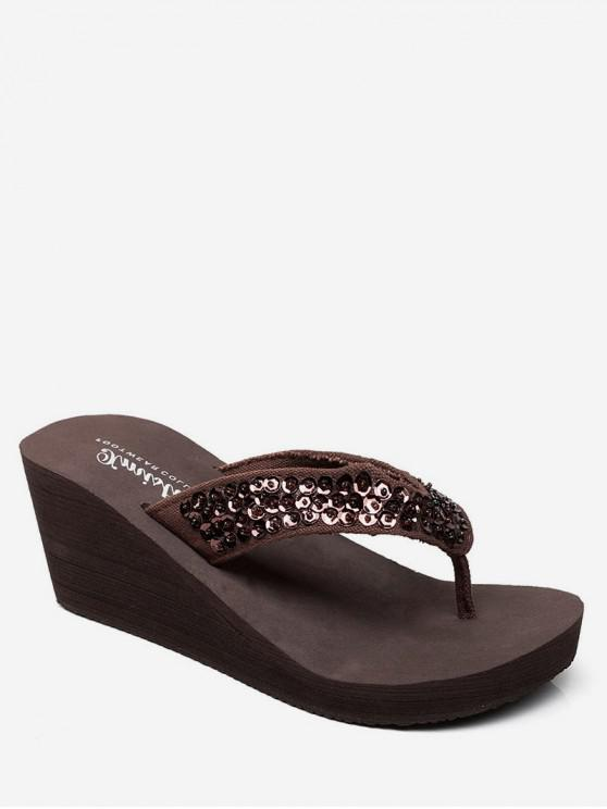 affordable Sequined Thong Wedge Heel Slides - COFFEE EU 36