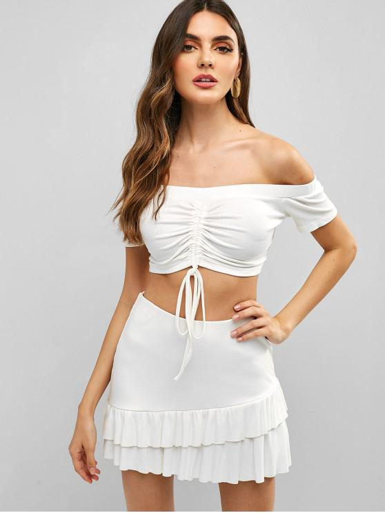 affordable ZAFUL Cinched Off Shoulder Top and Skirt Set - WHITE M