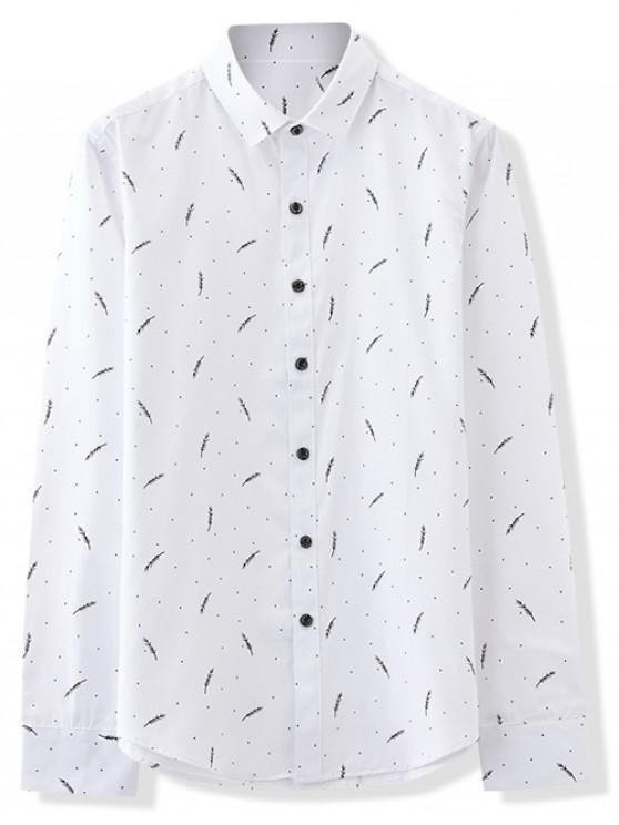 shop Polka Dots Tiny Leaves Print Slim Fit Shirt - WHITE S