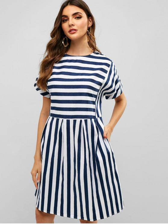 trendy Cuffed Sleeve Striped Casual Dress - BLUE L