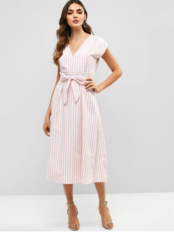 a5607128a409 30% OFF] 2019 Belted Striped A Line Midi Dress In LIGHT PINK | ZAFUL