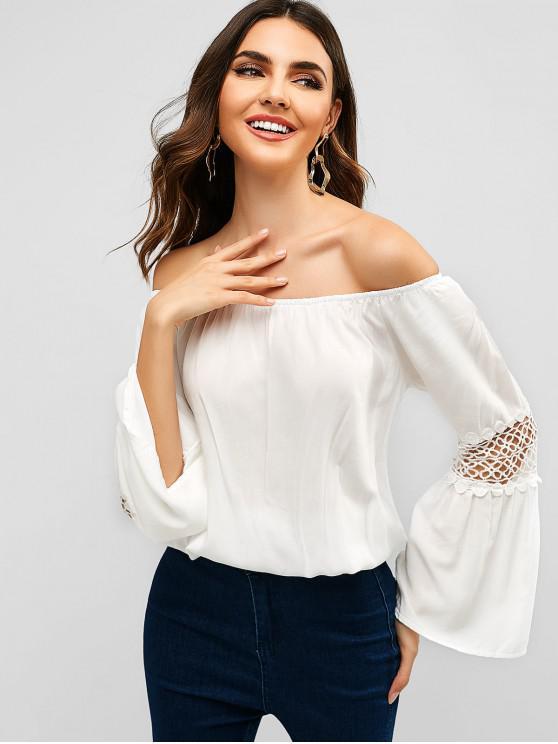 unique Crochet Panel Off Shoulder Blouse - WHITE L