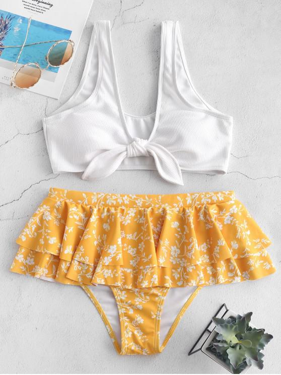 shops ZAFUL Tiny Floral Flounce Ribbed Tied Bikini Swimsuit - RUBBER DUCKY YELLOW S