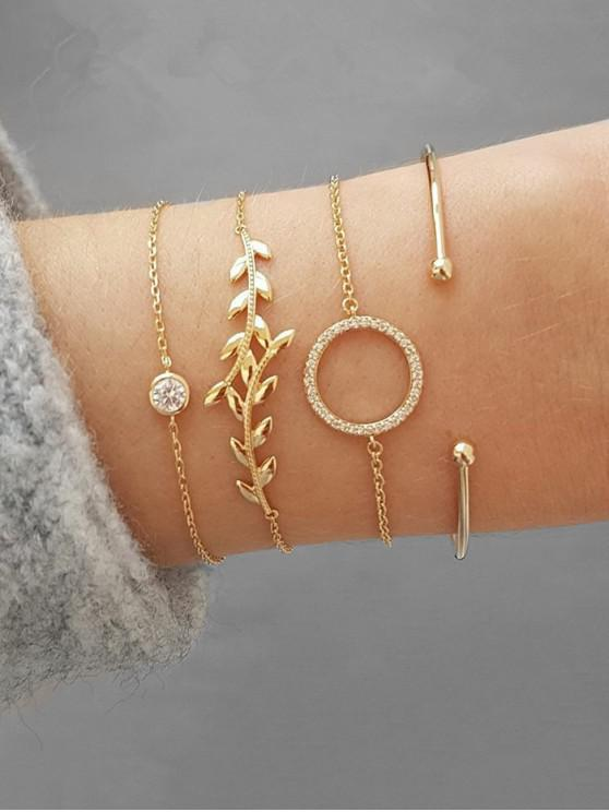 fashion Leaf Shape Rhinestone Bracelets Set - GOLD