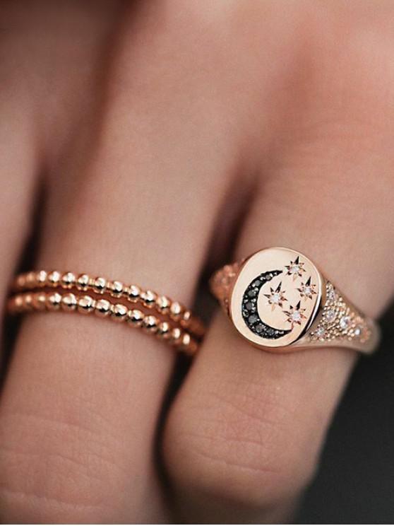women's 3Pcs Star Moon Rhinestone Ring Set - GOLD