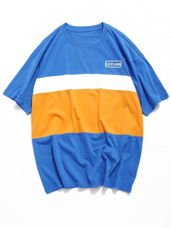 fashion Color Block Splicing Short Sleeevs T-shirt - BLUEBERRY BLUE 2XL