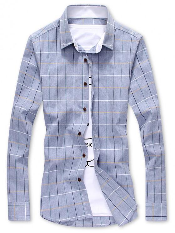 unique Plaid Print Slim Fit Long Sleeves Shirt - SLATE BLUE M