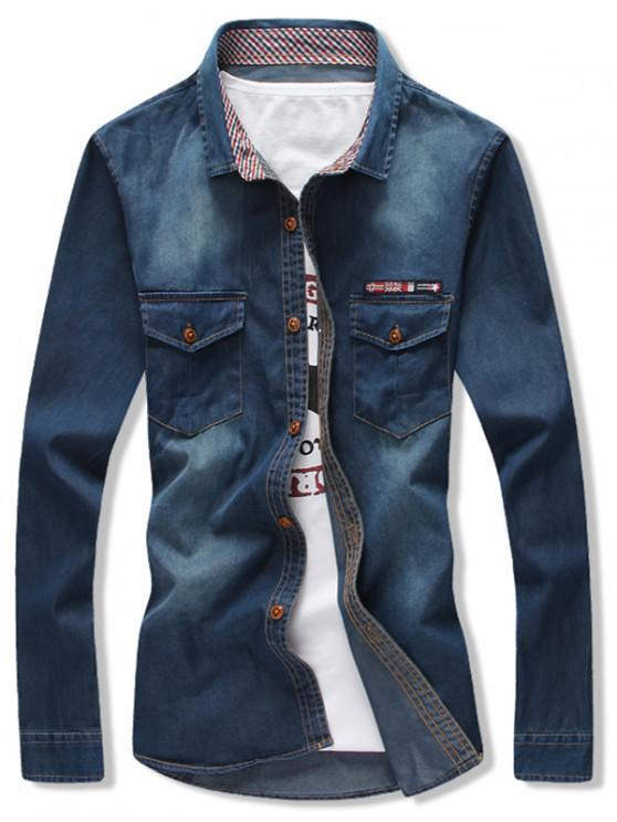 affordable Flag Applique Slim Fit Jean Shirt - DENIM DARK BLUE XS