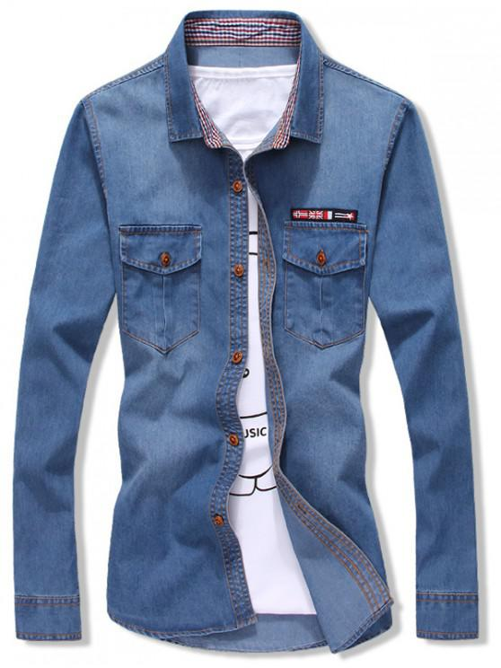 online Flag Applique Slim Fit Jean Shirt - SILK BLUE XS